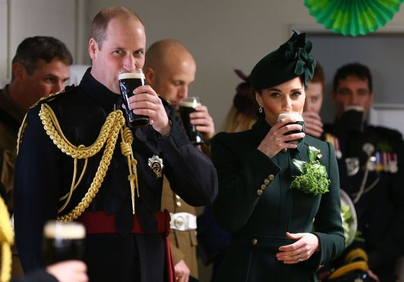 Prince William and Kate Middleton photographed celebrating St. Patrick\'s Day, in London, with the Irish Guard.