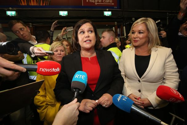 Sinn Féin President Mary Lou McDonald and First Minister of Northern Ireland Michelle O\'Neill celebrate making general election history.
