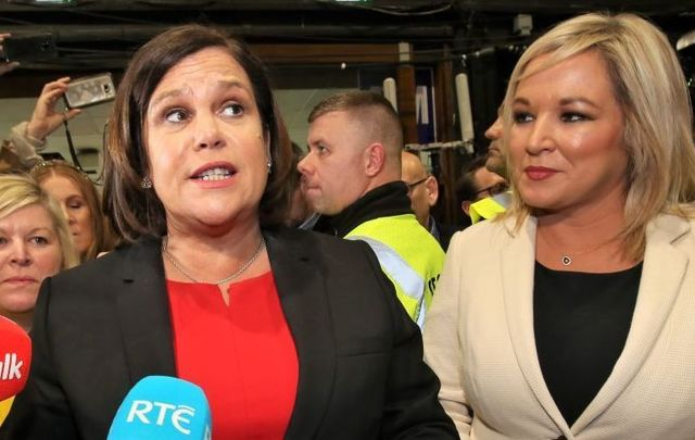 Sinn Féin president Mary Lou McDonald and deputy leader Michelle O\'Neill at the General Election 2020 Count center in Dublin on February 9, 2020.