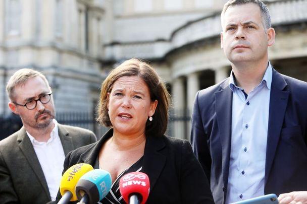 Eoin O Broin, Mary Lou McDonald and Pearse Doherty of Sinn Féin.