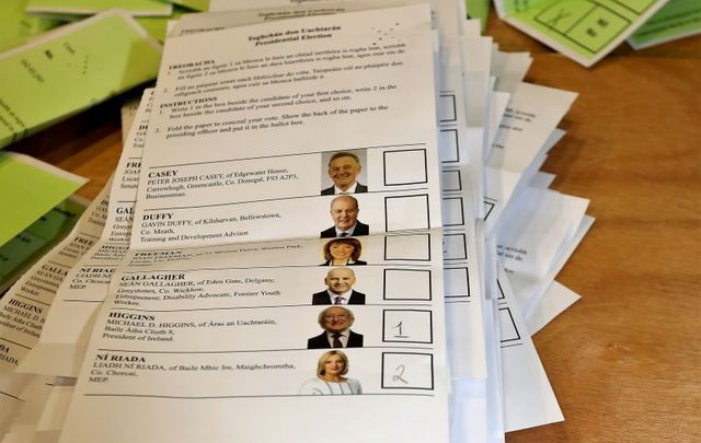 A ballot from the Irish presidential election in 2018. Should emigrants have the right to vote at home?