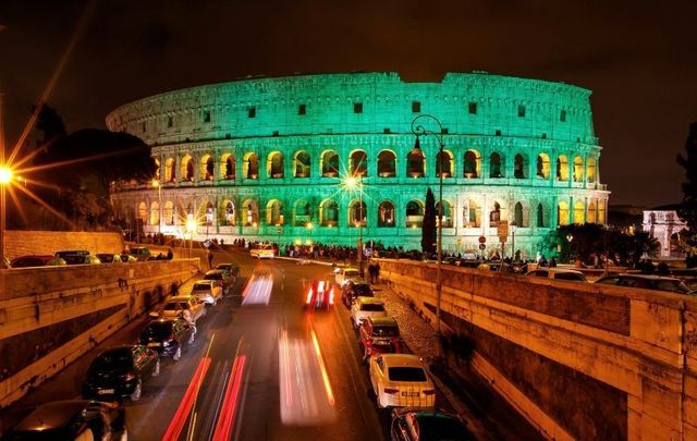 The Colosseum in Rome is one of hundreds of worldwide sites that take part in Tourism Ireland\'s Global Greening.