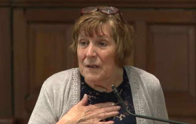 Elizabeth Coppin at Oxford Union in May 2019 speaking about her experience with Ireland\'s Magdalene Laundries.