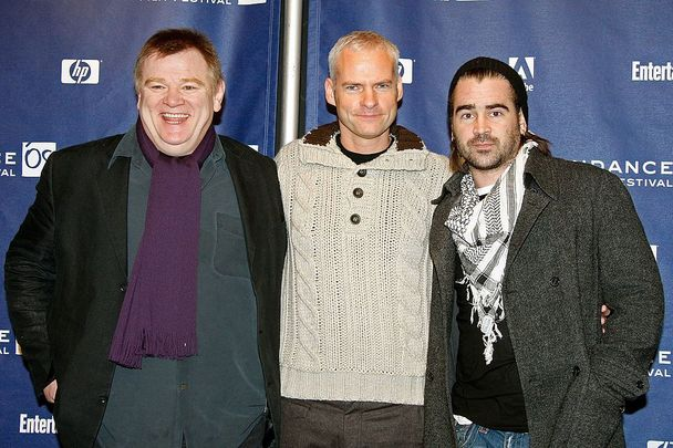 Brendan Gleeson (left) with Martin McDonagh and Colin Farrell at the 2008 Sundance Film Festival.