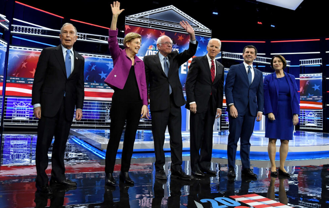 Democratic candidates from left to right: Mike Bloomberg, Elizabeth Warren, Bernie Sanders, Joe Biden, Pete Buttigieg, and Amy Klobuchar.
