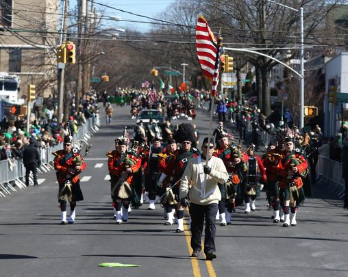 Marchers in the Staten Island, New York\'s St. Patrick\'s Day Parade.