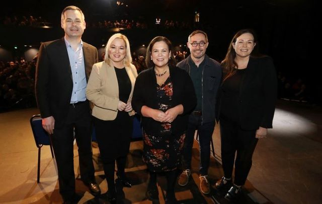 (L to R) Pearse Doherty, Michelle O\'Neill, Mary Lou McDonald, Eoin O\'Broin and Louise O\'Reilly at Sinn Féin\'s rally at Dublin\'s Liberty Hall on February 25, 2020.