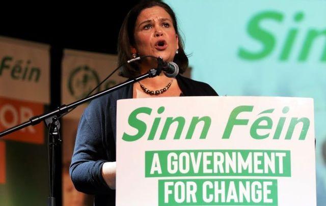 Sinn Féin president Mary Lou McDonald speaking at a rally at Dublin\'s Liberty Hall on February 25, 2020.