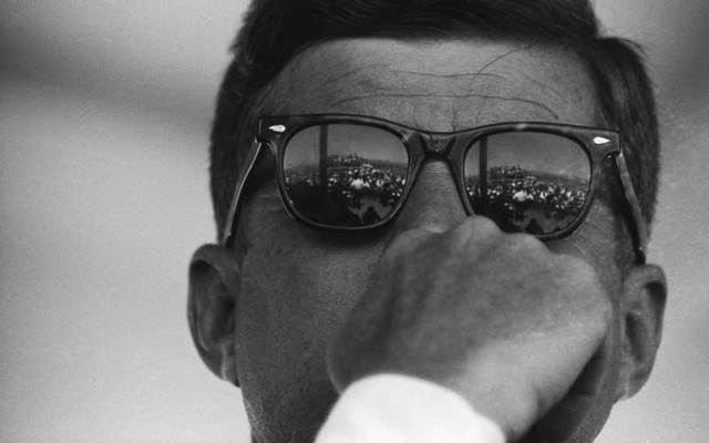 """This photo of President John F Kennedy, taken in 1962 by photographer Michael Ochs, was the inspiration behind Bon Jovi's """"2020"""" album cover."""