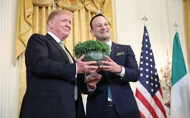 Irish leader Leo Varadkar presents President Donald Trump with the traditional bowl of shamrock on St. Patrick\'s Day 2019.
