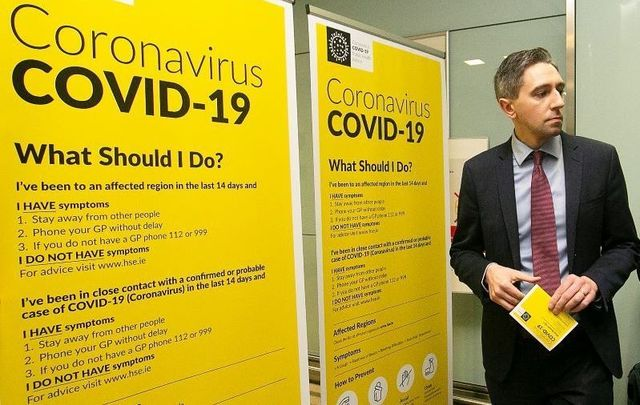 Minister for Health Simon Harris speaking with the media and the Environmental Health Service HSE team at Dublin Airport activating the public awareness campaign for COVID-19 (Coronavirus) on February 28.