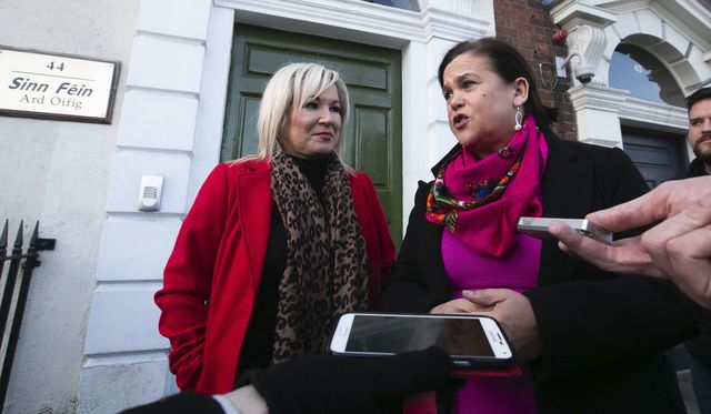 Sinn Féin leaders Michelle O\'Neill and Mary Lou McDonald outside the parties Dublin offices.