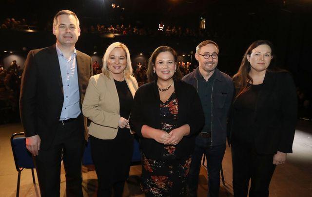 Sinn Féin\'s Pearse Doherty, Michelle O\'Neill, Mary Lou McDonald, Eoin O Broin, and Louise O\'Reilly.
