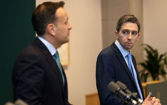 Taoiseach Leo Varadkar and Ireland\'s Minister for Health Simon Harris. The Irish government has responded to the coronavirus outbreak with secrecy