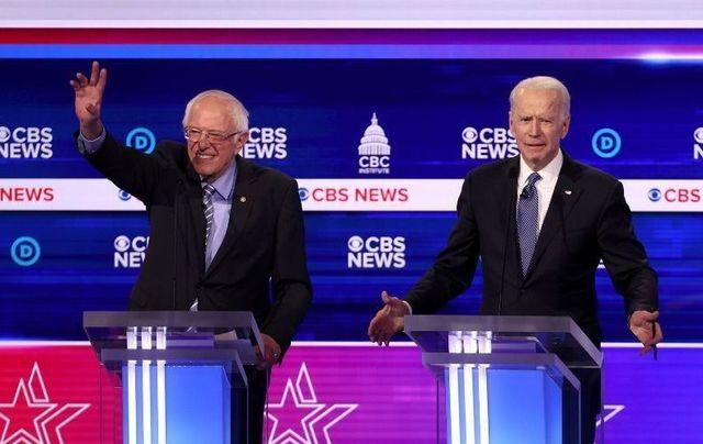 Bernie Sanders and Joe Biden at the Democratic debate in South Carolina.
