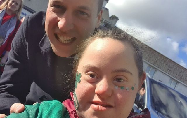 Prince William posed for a rare selfie with Irish sports superfan Jennifer while in Co Kildare on March 4.