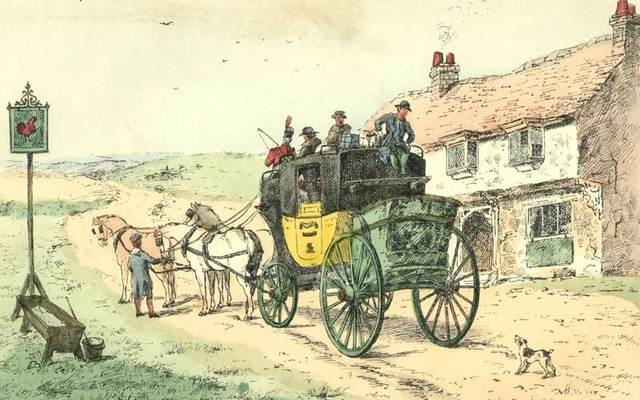 "An illustration of ""The Follies & Fashions of our Grandfathers: 1807"" by Andrew W Tuer, depicting a stagecoach approaching an inn."