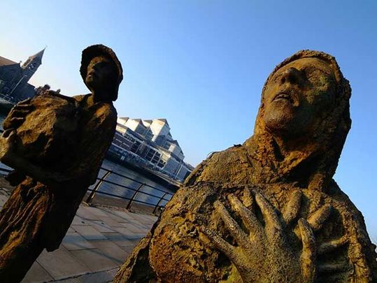 A close of one of the statues at the Famine Memorial, in Dublin.