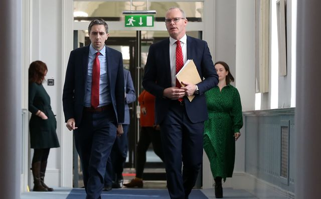 Ireland\'s Minister for Health Simon Harris and Ireland\'s Deputy Leader Simon Coveney.