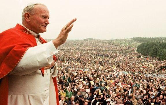 Pope John Paul II addresses the people of Ireland in 1979.