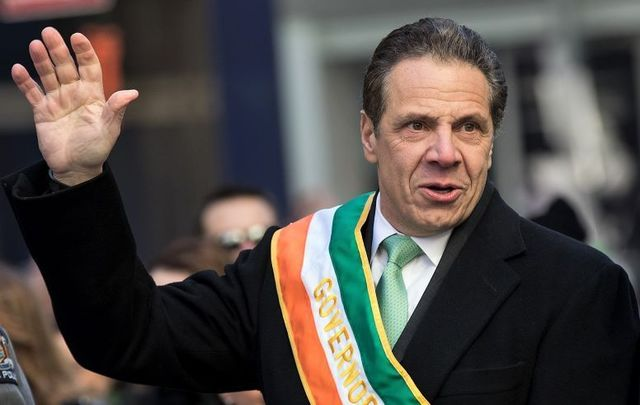 NY Governor Andrew Cuomo marching in the 2017 NYC St. Patrick\'s Day Parade