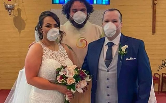 The couple donned facemasks in light of the Coronavirus outbreak.