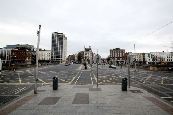 O\'Connell Bridge, Dublin, usually the epicenter of the St. Patrick\'s Day parade, empty on March 17.