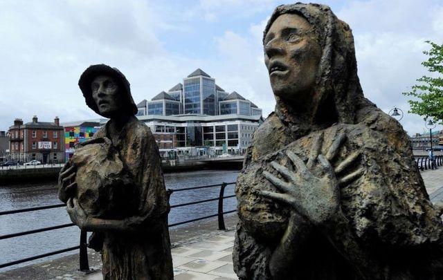 Famine Memorial on the Liffey River in Dublin.