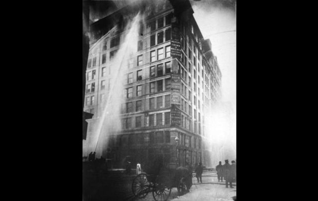 The Triangle Shirtwaist Factory fire on March 25, 1911. First published on the front page of The New York World on March 26, 1911.