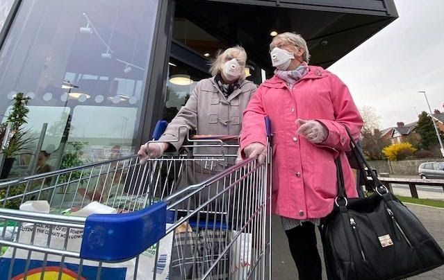 Shoppers at LIDL in West Belfast this week.