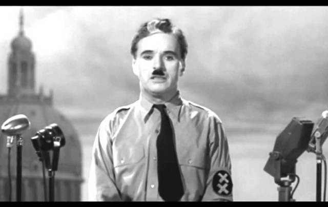 Charlie Chaplin in The Great Dictator (1940).