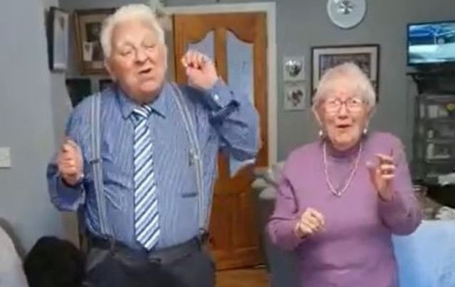 "Johnny and Carmel Kierans show everyone they\'re ""Stayin Alive\"" during the cocoon mandate in Ireland."