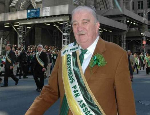A proud Kerry man, Maurice Brick, wearing his Kerryman Association sash, on St. Patrick\'s Day, in New York.