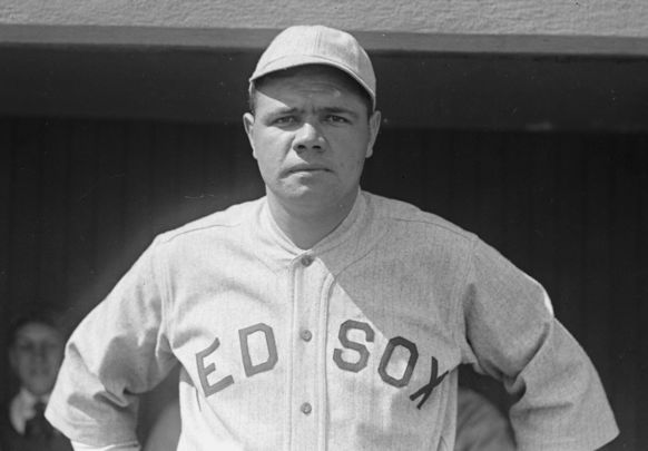 The Red Sox\'s Babe Ruth, photographed in 1918.