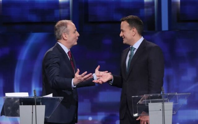Michéal Martin and Leo Varadkar at a leaders\' debate prior to the general election.\n