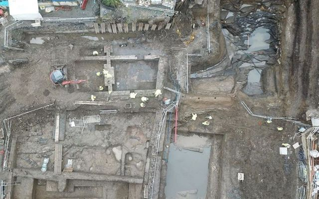 An old quarry (top right), the remains of a police station (top left) and a medieval settlement (bottom left)