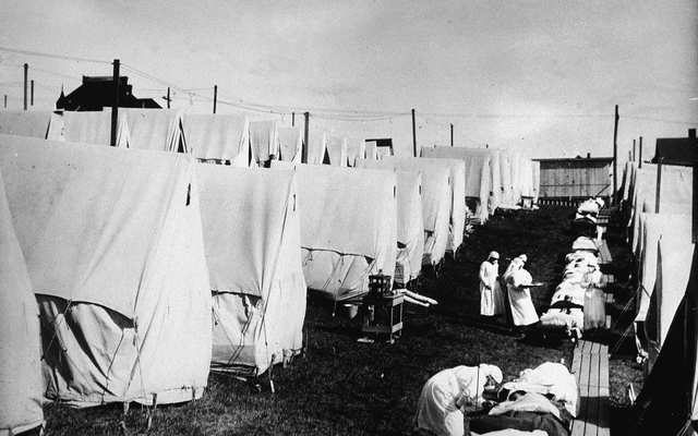 A makeshift hospital of tents during the 1918 Spanish Flu pandemic.