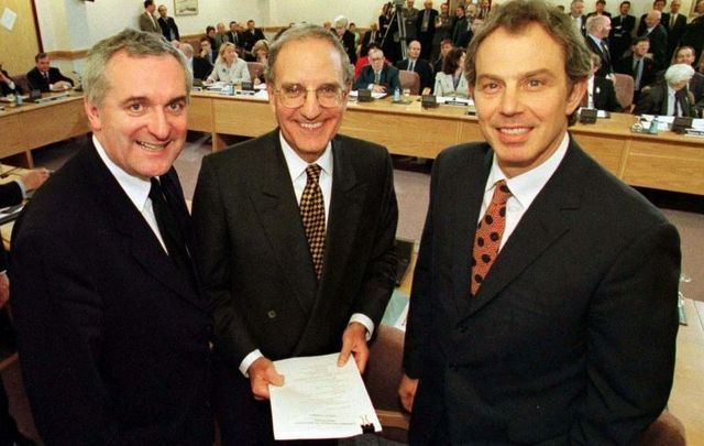 (L to R): Taoiseach Bertie Ahern with Senator George Mitchell and British Prime Minister Tony Blair at Castle Buildings Belfast, after they signed the peace agreement on April 10, 1998.
