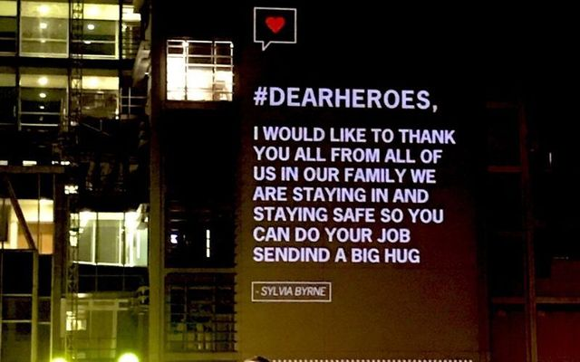 The Mater Hospital is projecting #DearHeroes messages this weekend to support health workers.