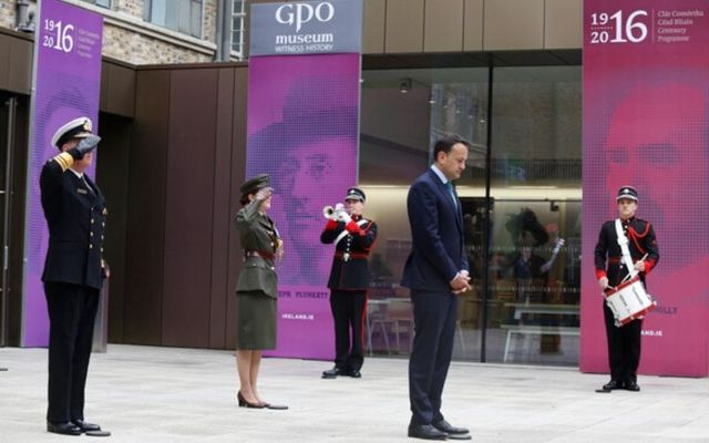 Taoiseach Leo Varadkar at the Easter Rising commemorations in the GPO.