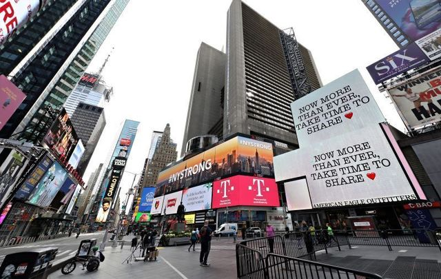 A nearly empty Times Square in NYC on April 20, 2020.
