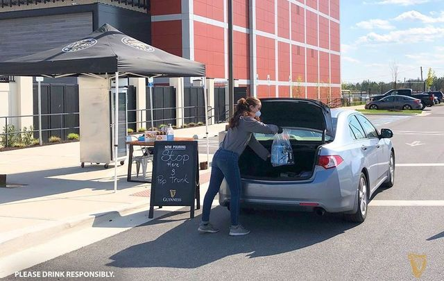 Contactless, curbside pick-up at the Guinness US Brewery