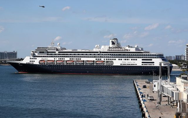 The Zaandam cruise ship pulls into Port Everglades on April 02, 2020 in Fort Lauderdale, Florida.