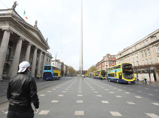 Empty O\'Connell Street, in Dublin, during the COVID-19 lockdown.