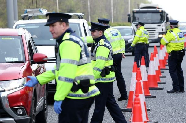 A garda checkpoint in Dublin, as gardai continue a major operation to limit public travel ahead of the May Bank Holiday weekend.