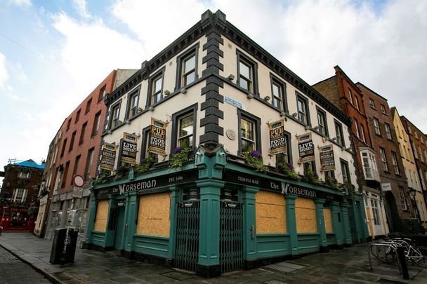 The Norseman in Dublin\'s Temple Bar district on April 21, 2020 during the coronavirus shutdowns.
