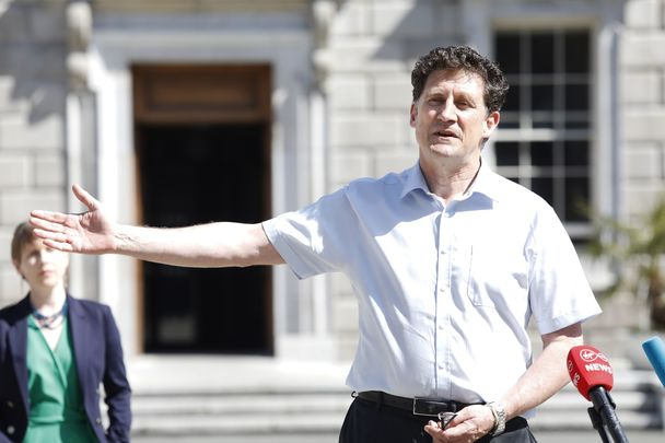 Green Party leader Eamon Ryan arrives at Government Buildings in Dublin last week.