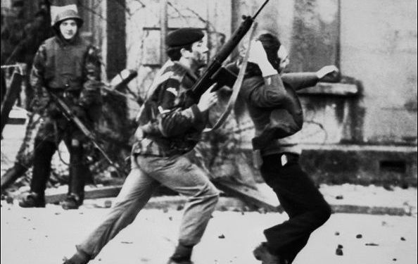 A British soldier drags a Catholic protester during the \'Bloody Sunday\' killings January 30, 1972, when British paratroopers shot dead 13 Catholics civil rights marchers in Derry.