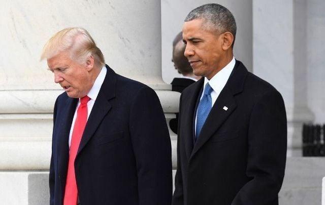 Barack Obama and Donald Trump at Trump\'s inauguration in 2017.