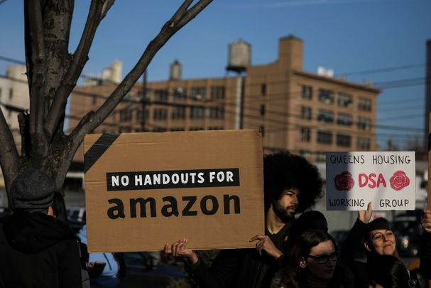 Anti-Amazon protesters during the COVID-19 pandemic.